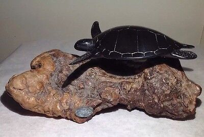 JOHN PERRY SEATURTLE SCULPTURE COLLECTIBLE FIGURINE TURTLE BURLWOOD Large 9.5""
