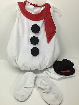 Snowman Costume Plush Soft Holiday Costume Size 2-4 years Body/Hat/Shoes