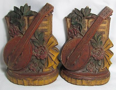 Syroco MANDOLIN Musical Instrument Sheet Music Flowers Bows BOOKENDS Book Ends