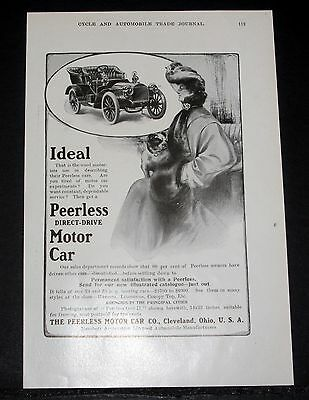 1904 Old Magazine Print Ad, Peerless Direct-Drive Motor Car, Dependable Service!