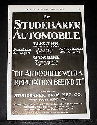 1904 Old Magazine Print Ad, The Studebaker Automobile, Electric & Gasoline Cars!