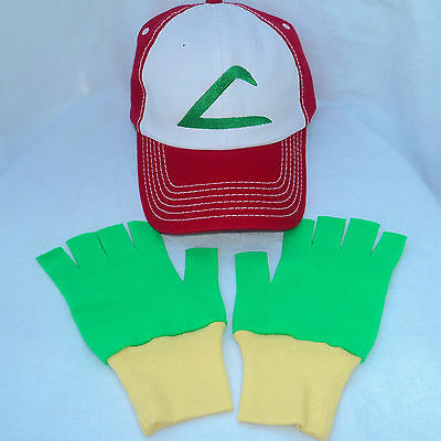 Pokemon Ash Trainer Halloween Fabric Hat and Gloves Set Green/Yellow Choose Size