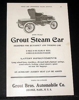 1904 Old Magazine Print Ad, Grout Steam Car, 40 Miles On One Filling Of Water!