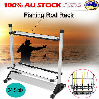 Fishing Rod Rack Stand 24 Slots Aluminum Alloy Metallic Storage Tool Foldable AU