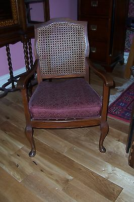 Antique mahogany chair, sprung seat, caned back