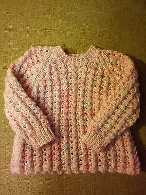 hand knitted baby toddler clothes, pink jumper/ sweater