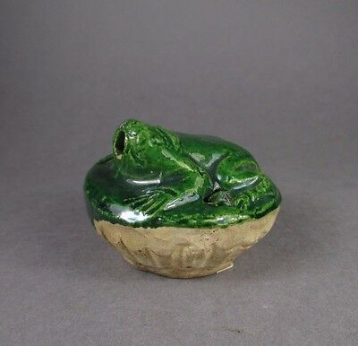 RARE EARLY Chinese FROG WATER DROPPER with GREEN GLAZE yuan ming