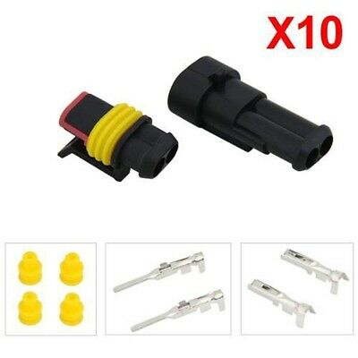 10 Pcs 2 Pin way Waterproof Car ATV Electrical Wire Connector Plug cable 12v