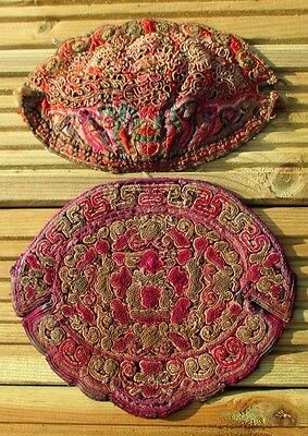 2 very intricately embroidered chinese textile silk panels hats?
