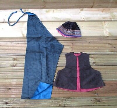 3 items of Chinese vintage Clothing. HAT DRESS and WAIST COAT silk oriental