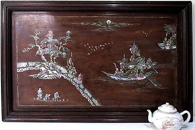 SUPERB highly detailed Antique CHINESE INLAID PANEL mother of pearl