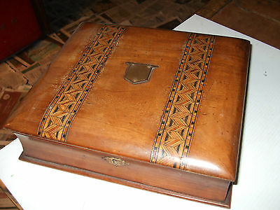 Antique Tunbridge Ware Inlaid Stationery Box In Form Of A Book