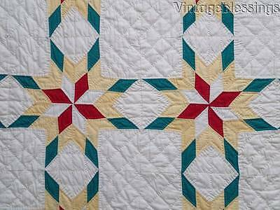 """Sparkling Amish Prairie Stars VINTAGE 30s QUILT Yellow Red Green 87x87"""" GIFT"""