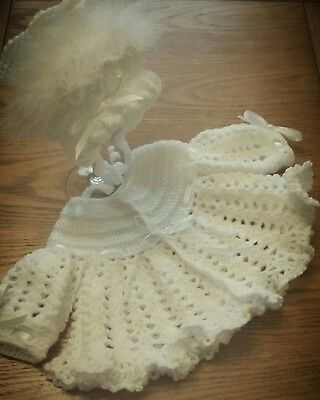 Baby crochet knitted matinee coat and bonnet 0-6 months