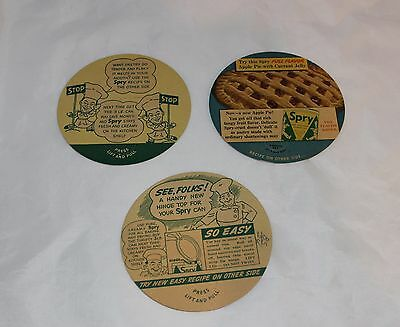 Vintage Small Spry Vegetable Shortening  Lid Inserts with  Recipes Free Shipping