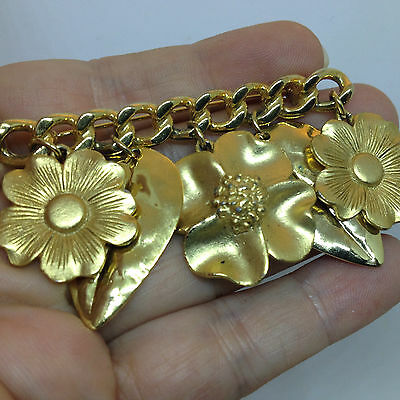 Vintage FLOWER and LEAF DANGLE BAR PIN BROOCH Gold Tone Costume Jewelry