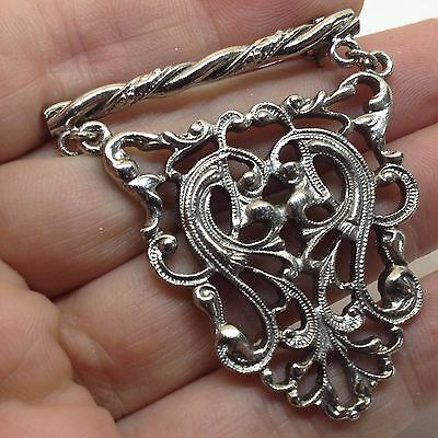 Vintage BAR WITH DANGLE PIN BROOCH Silver Tone Costume Jewelry