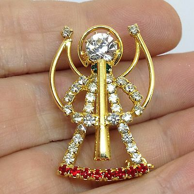 Vintage ANGEL WITH HORN BROOCH PIN Red Clear Rhinestone Gold Tone Jewelry