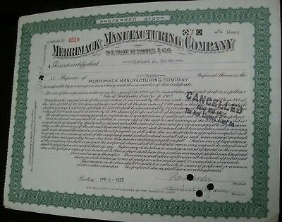 Cancelled stock certificates