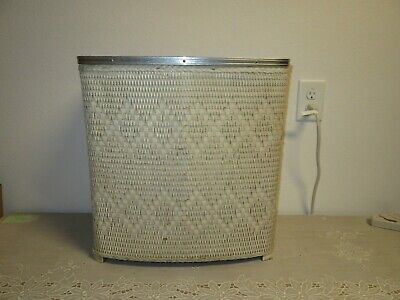 Mid Century Modern Off White Wicker Laundry Basket Bin Victor Products