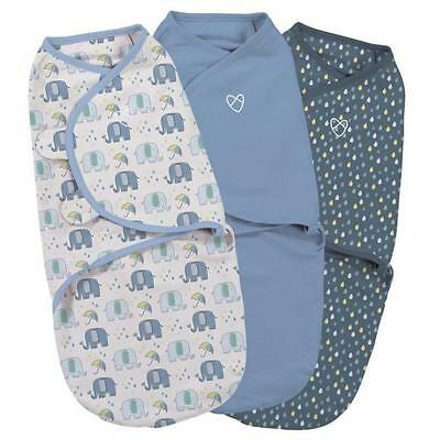 Summer Infant Baby Swaddle SwaddleMe Elephant Splash Boy 3 Pack – 0-3 months
