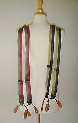 LOT OF 2 Trafalgar Silk Braces Suspenders Stripes EUC