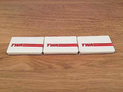 Vintage Advertising TWA Airlines Mini Bar of Soap Lot Count 3