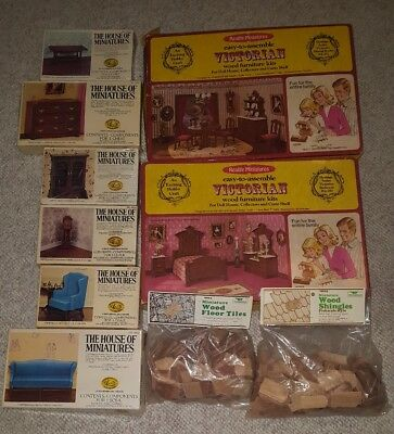 LOT of Dollhouse Miniatures Furniture Unfinished Doll House Kits
