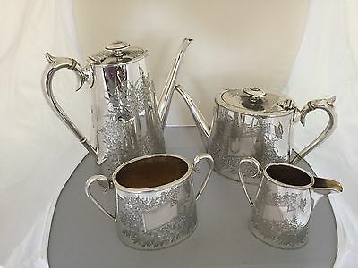 Lovely Victorian 4 Piece Silver Plated Tea/coffee Service  (Sptcs 84T) R & B