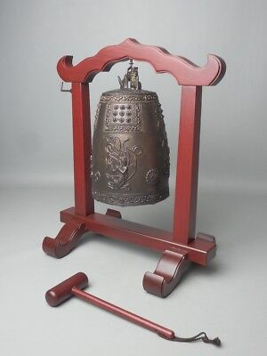 "Japanese Buddhist Hanging Temple Bronze Bell ""bonsho"" Wood Striker Stand Kane"