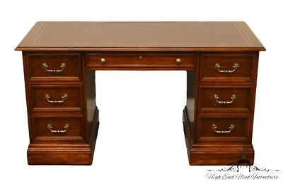 SLIGH Holland MI Tooled Leather Top 56″ Mahogany Writing Desk