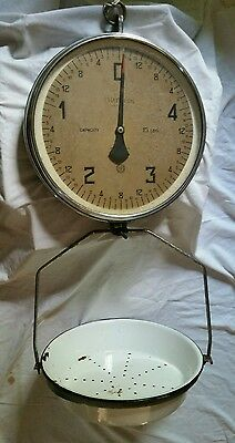 "Vtg 15 1/2"" Chatillon Hanging Scale- 15#"