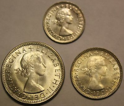 Australia Uncirculated 1953 Shilling Three 3 Pence Six 6 Pence Silver Coin