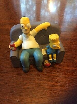 The simpsons Homer and Bart on sofa