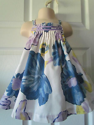 Old Navy Blue Purple Floral Pleated Toddler Girl Dress Size 18-24 Months Pretty!