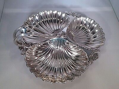 Antique Walker and Hall silver plated shell shape Trefoil serving tray dish 1893
