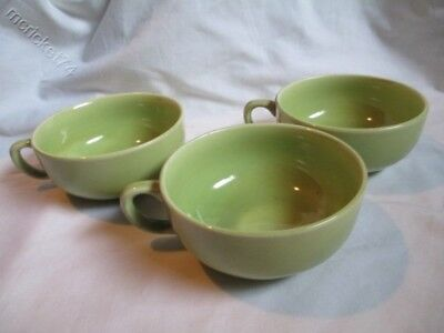 Vintage Paden City Pottery Greenbriar Chartreuse Green Coffee Tea Cups set of 3