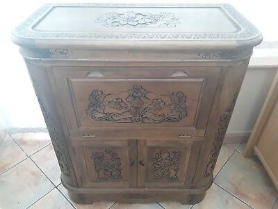 Lovely 3 piece chinese repro carved wood furniture..