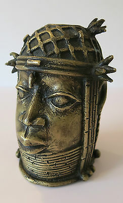 BENIN OBA Edu commemorative ROYAL HEAD of a QUEEN MOTHER -  BRONZE-BRASS - C1900