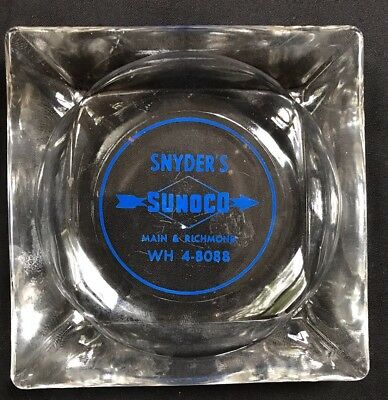 Vintage Glass Ashtray Snyder's Sunoco Service Station Main Richmond