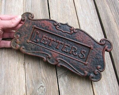 Antique Cast Iron Letter Box Plate / Mail Slot / Mailbox - WORKING SPRING