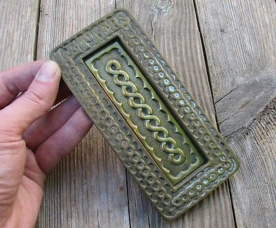Antique Solid Brass Vertical Ornate Letter Box Plate / Door Mail Slot / Mailbox