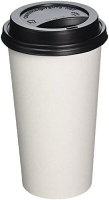 2dayShip 100 Pack WHITE Paper Coffee Hot Cups with BLACK Travel Lids - 16
