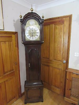 Georgian 8 Day Oak Body Grandfather Clock Subsidiary Second & Date Aperture