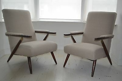 STUNNING PAIR VINTAGE ITALIAN WALNUT & BRASS LOUNGE ARM CHAIRS - 1950's