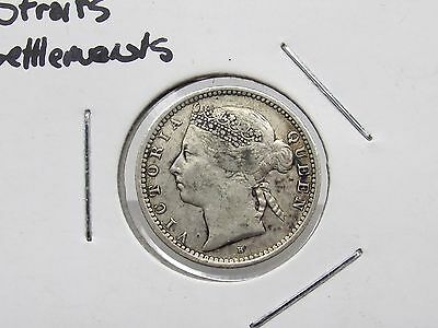 1900 Straits Settlements Queen Victoria 10 Cent Silver Coin Antique Free S/H