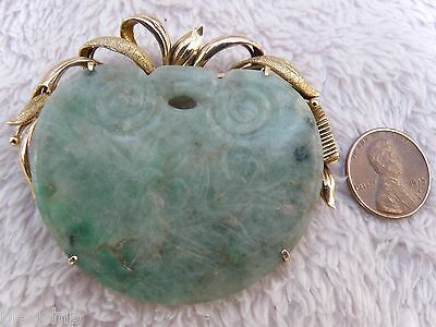 Antique Chinese Qing carved 14k green white Jade Jadeite Brooch Pin Pendant