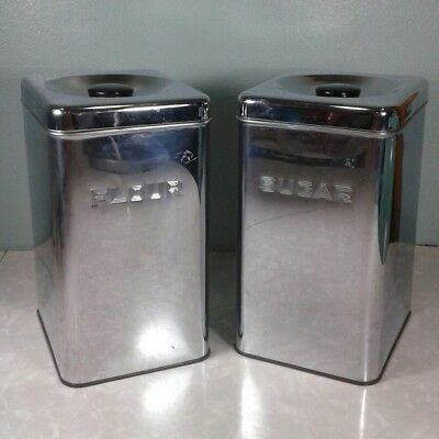 Vintage Lincoln Beautyware Chrome Metal Kitchen Canisters Flour Sugar