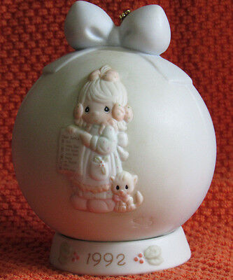 1992 Precious Moments But The Greatest of These Is Love Ornament w/ Base