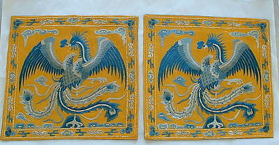 Chinese Embroidered Pair Phoenix Panels